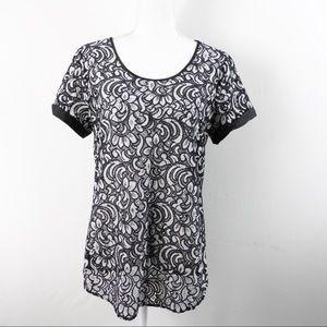 T253 Express Black White Lace Shirt Size L